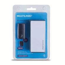 Kit Power Bank 4000 mAh + Leitor de Cartão + Cartão De Memória Micro SD Classe 10 16GB Preto Multilaser - MC220