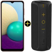 Kit Celular Samsung Galaxy A02 Vermelho 32GB + Caixa De Som Portátil Sem Fio Bluetooth Y-Move 12W Preta