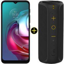 Kit Celular Motorola Moto G30 Phantom Black 128GB + Caixa De Som Portátil Sem Fio Bluetooth Y-Move 12W