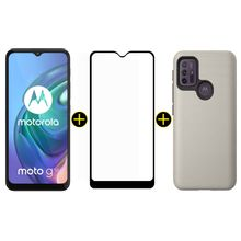 Kit Celular Motorola Moto G10 Branco Floral 64GB + Capa Protetora Triangle Dourado + Película Protetora