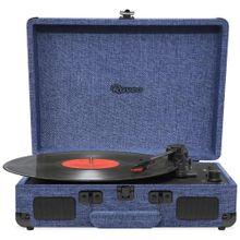 Vitrola Retrô Raveo Sonetto Onix Water, Toca Discos, USB, Bluetooth, Reproduz e Grava Vinil, Azul Bivolt