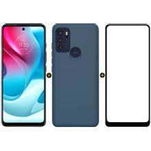 Kit Celular Motorola Moto G60s Azul 128GB + Capa Y-Cover Soft Azul + Pelicula Y-Protection Max Moto G60s