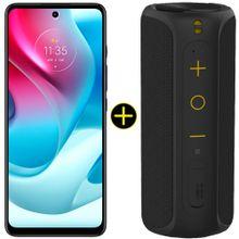 Kit Celular Motorola Moto G60s Azul 128GB + Caixa De Som Portátil Sem Fio Bluetooth Y-Move 12W