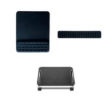 Combo Ergonômico - Mouse Pad Dot com Apoio de Pulso Gel, Apoio de Pulso Dot para Teclado e Descanso de Pés Ergonômico Reclinável - AC365K