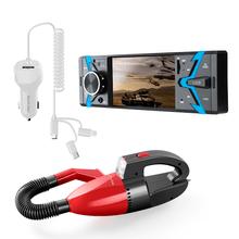 Combo Para Auto - Autoradio Groove Bluetooth MP5 Tela 4. Pol, Carregador Automotivo 3 Em 1 1,5m e Aspirador de Pó Automotivo 12V 60W  - P3341K