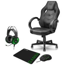 Combo Gamer - Cadeira com Função Basculante 15°, Headset Raiko USB 7.1 3D LED e Mouse 3200DPI 6 Botões Preto/Verde com Mouse Pad - GA182K