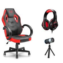 Combo Gamer - Cadeira Tongea, Headset Rama P3+USB Stereo Adaptador P2 LED Vermelho e Microfone Eloy Streaming Noise Cancelling USB - GA162K