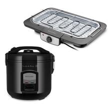 Combo Cozinha - Panela de Arroz 127V-400W 5 Xícaras LED Preta e Churrasqueira Elétrica 127V-1800W Preta Multilaser - CE131K