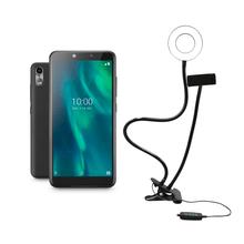 Combo Selfie - Smartphone Multilaser F 3G 32GB 1GB Tela 5.5 Câmera 5MP + 5MP Café e Suporte tipo Ring Light - P9130K