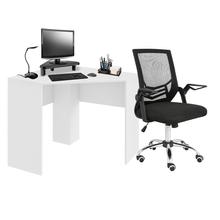 Combo Office - Mesa de Canto para Computador 90x90cm Branco Fosco e Cadeira de Escritório Adapt Giratória Multilaser - GA204K