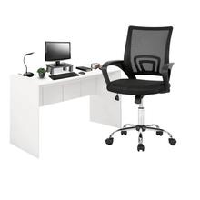 Combo Office - Mesa para Computador 136cm Branco Fosco e Cadeira De Escritório Executive Cromada Giratória Multilaser - EI075K