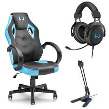 Combo Gamer - Cadeira Gamer Azul, Headset Gamer USB 7.1 3D LED Azul e Microfone Gamer Olier USB Warrior - GA161K