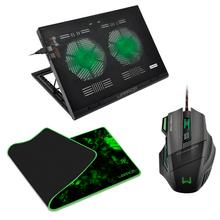 Combo Gamer - Cooler Para Notebook Gamer Led Verde, Mouse Gamer 3200DPI e Mouse Pad Gamer Para Teclado e Mouse Warrior - AC267K