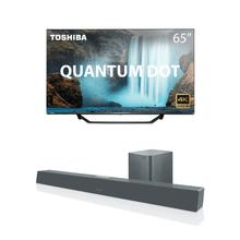 Combo Cinema - Tela Toshiba QLED 65 Pol. Smart VIDAA HDR e Caixa de Som Soundbar + Subwoofer 320W Bt/Coax/Óptico/Aux Cinza Pulse - TB002K